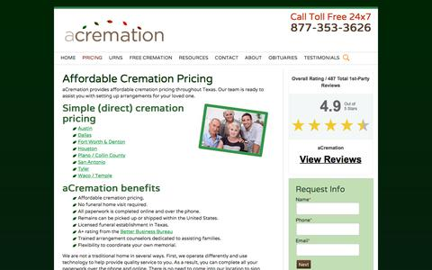 Screenshot of Pricing Page acremation.com - Affordable Cremation Pricing | aCremation - captured July 31, 2018