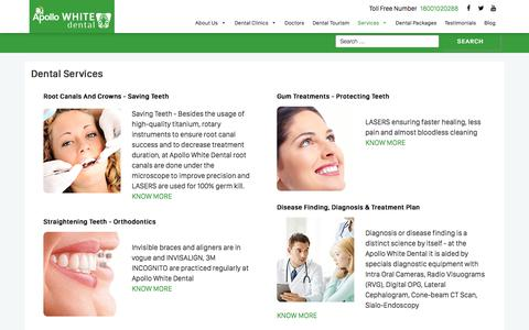 Screenshot of Services Page apollowhitedental.com - Dental Services - Apollo White Dental - captured Jan. 4, 2020