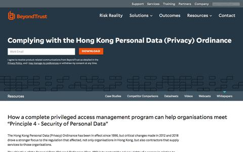 Screenshot of Privacy Page beyondtrust.com - Complying with the Hong Kong Personal Data (Privacy) Ordinance | BeyondTrust - captured Dec. 14, 2019