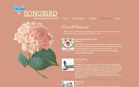 Screenshot of Testimonials Page songbirdconsulting.com - songbird | Testimonials - captured Dec. 1, 2016