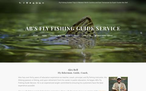 Screenshot of About Page abfish.org - About Alex Bell and AB's Fly Fishing in the Smoky Mountains - AB's Fly Fishing Guide Service - captured Feb. 4, 2016