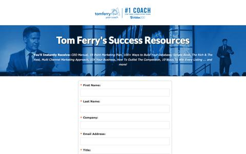 Screenshot of Landing Page tomferry.com - Tom Ferry Success Resources - captured Oct. 4, 2016