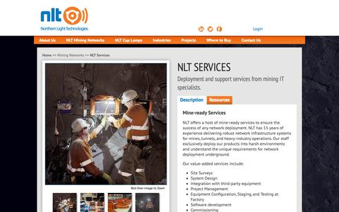 Screenshot of Services Page nltinc.com - NLT Services - Mine-ready Network Deployment and Support - captured Oct. 18, 2018