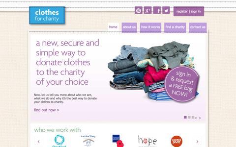 Screenshot of Home Page clothesforcharity.org.uk - Donate Clothes for Charity Online - captured Sept. 30, 2014