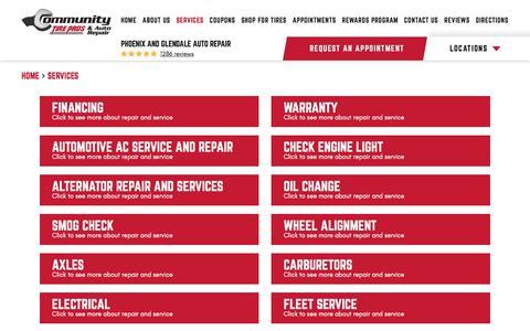 Screenshot of Services Page communitytirepros.com - Services - Community Tire & Automotive - captured Dec. 22, 2019