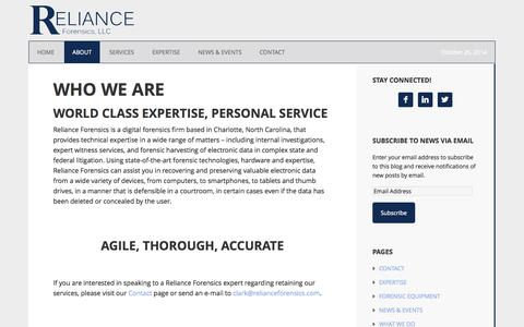 Screenshot of About Page relianceforensics.com - WHO WE ARE - captured Oct. 26, 2014