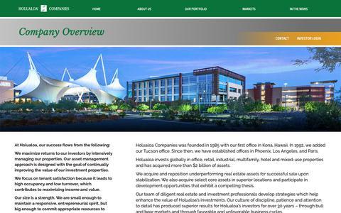 Screenshot of About Page holualoa.com - Company Overview – Holualoa Companies - captured Sept. 29, 2018