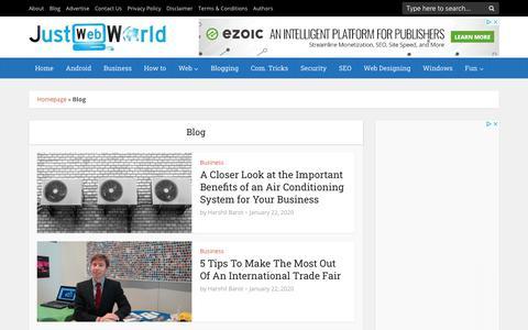 Screenshot of Blog justwebworld.com - Just Web World Blog - captured Jan. 22, 2020
