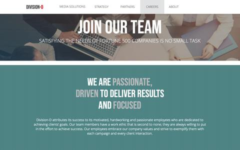 Screenshot of Jobs Page divisiond.com - Careers | Division-D - captured Oct. 9, 2018