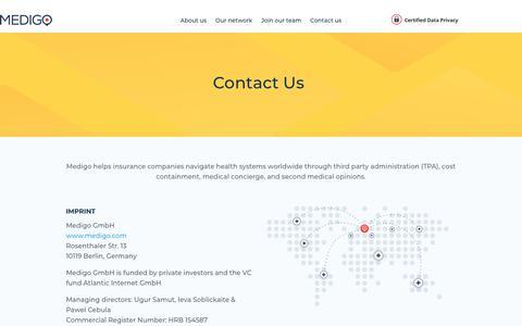 Screenshot of Contact Page medigo.com - Contact Us - Medigo - captured Feb. 6, 2020