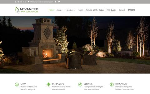 Screenshot of Home Page advancedlawnsolutions.com - Advanced Lawn Solutions | Seeding, Irrigation, Lighting, Renovation - captured May 29, 2017