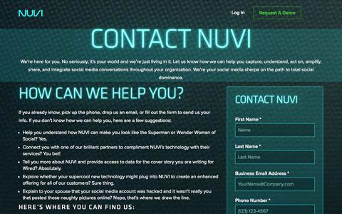 Screenshot of Contact Page nuvi.com - NUVI - Real-Time Social Intelligence - captured Oct. 29, 2014