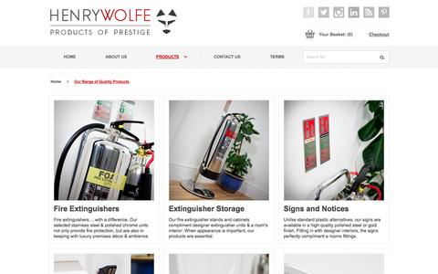 Screenshot of Products Page henrywolfe.co.uk - Our Range of Quality Products - captured Sept. 30, 2014