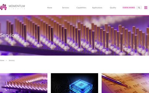Screenshot of Services Page momentumcircuits.com - Services | Momentum Circuits_2018 - captured Oct. 18, 2018