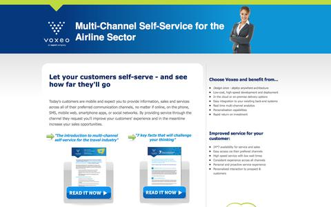 Screenshot of Landing Page voxeo.com - Multi-Channel Self-Service for the Airline Sector - captured Sept. 11, 2017
