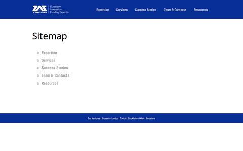 Screenshot of Site Map Page zazventures.com - Sitemap - European Innovation Funding Experts - captured Nov. 13, 2017