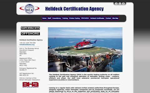 Screenshot of Home Page helidecks.org - Helideck Certification Agency - Home - captured Oct. 2, 2014
