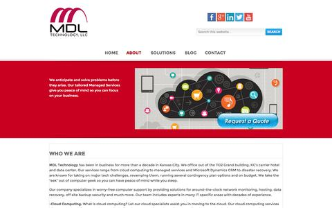 Screenshot of About Page mdltechnology.com - Who We Are - MDL Technology - captured Oct. 27, 2014
