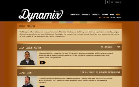 Screenshot of About Page dynamix.tv - Meet The Team «  Dynamix - captured Sept. 15, 2014