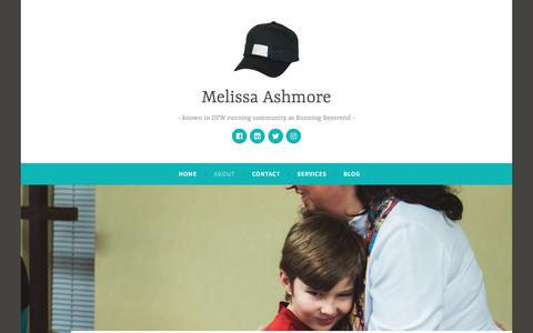 Screenshot of About Page wordpress.com - About – Melissa Ashmore - captured Sept. 21, 2018