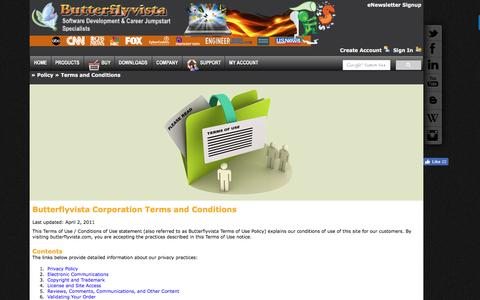 Screenshot of Terms Page butterflyvista.com - Butterflyvista Corporation | Jobfish | Career Coaching | Ask Sarah | Career Coach | Excellence in software engineering - captured Nov. 23, 2016
