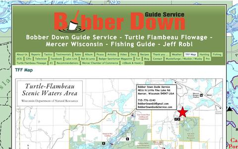 Screenshot of Maps & Directions Page bobberdownguideservice.com - TFF Map - Bobber Down Guide Service - Turtle Flambeau Flowage - Mercer Wisconsin - Fishing Guide - Jeff Robl - captured Sept. 30, 2014