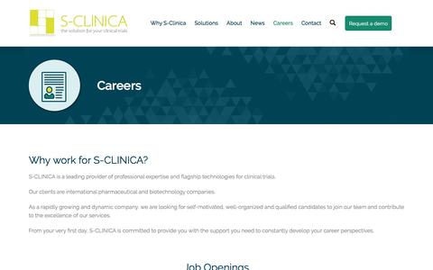 Screenshot of Jobs Page s-clinica.com - Careers - captured May 25, 2017