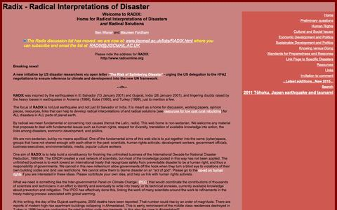 Screenshot of Home Page radixonline.org - Radix - Radical Interpretations of Disaster - captured Oct. 15, 2015
