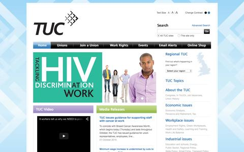 Screenshot of Home Page tuc.org.uk - TUC - Britain at work - captured Oct. 1, 2015