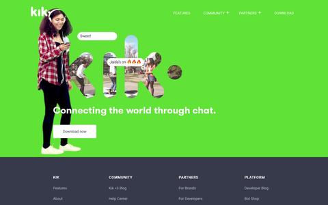 Screenshot of Home Page kik.com - Home - captured May 5, 2017