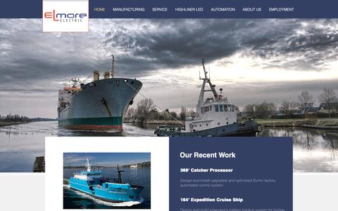 Screenshot of Home Page uselmore.com - Leaders in Marine Electrical | Seattle | Elmore Electric - captured Sept. 28, 2018