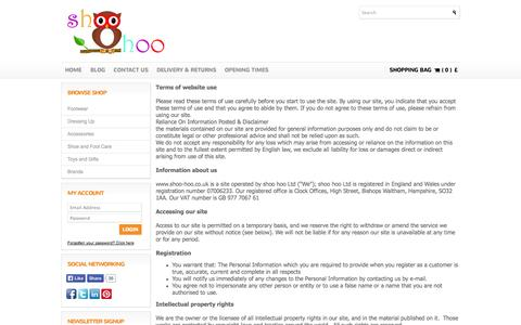 Screenshot of Terms Page shoo-hoo.co.uk - shoo hoo Ltd Terms and Conditions - captured Oct. 7, 2014
