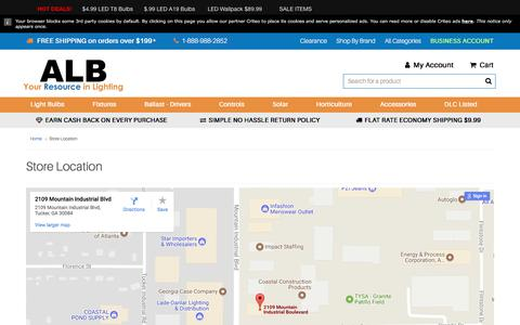 Screenshot of Maps & Directions Page atlantalightbulbs.com - Store Location - captured July 7, 2017