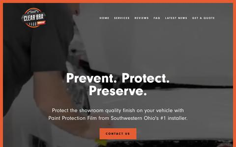 Screenshot of Home Page clearbraohio.com - Clear Bra Ohio - captured July 18, 2018