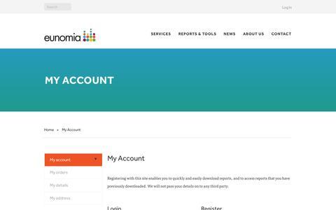 Screenshot of Login Page eunomia.co.uk - My Account - Eunomia - captured Oct. 27, 2014