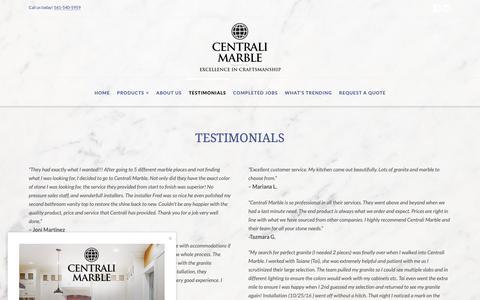 Screenshot of Testimonials Page centralimarble.com - Testimonials :: Centrali Marble :: Delray Beach, FL - captured Dec. 14, 2018