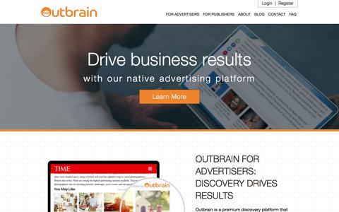 Screenshot of Home Page outbrain.com - Performance-Based Native Advertising Platform | Outbrain.com - captured June 20, 2018