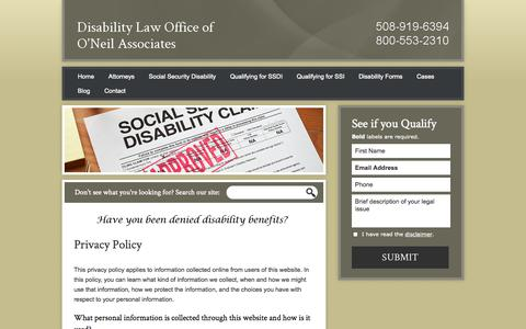 Screenshot of Privacy Page bestdisabilitylawyer.com - Privacy Policy | Disability Law Office of O'Neil Associates | Worcester, Massachusetts - captured Oct. 5, 2014