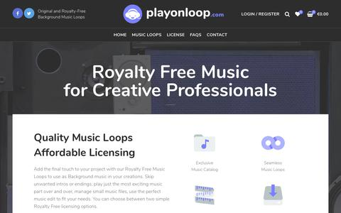 Screenshot of Home Page playonloop.com - Royalty Free Background Music for Videos, Games, Trailers and Slideshows - captured Sept. 28, 2018
