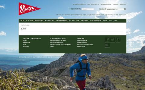 Screenshot of Jobs Page spatz.ch - Jobs|Spatz Camping& Outdoor AG - captured Jan. 18, 2016