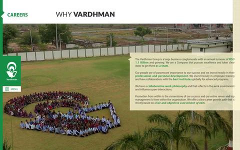 Screenshot of Jobs Page vardhman.com - Vardhman group of companies Yarn, Fabrics, Steel, Threads, Acrylic. - captured Feb. 21, 2016