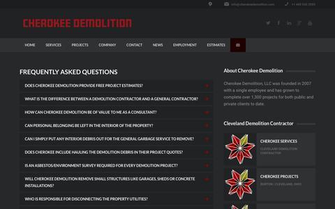Screenshot of FAQ Page cherokeedemolition.com - FAQs | Demolition + Dry Bulk Transport + Asbestos + Excavation | Cleveland, Ohio - captured Nov. 5, 2016