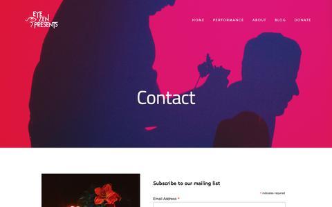 Screenshot of Contact Page eyezen.org - Contact — Eye Zen Presents - captured Oct. 23, 2018
