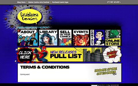 Screenshot of Terms Page casablancacomics.com - Terms & Conditions |Casablanca Comics - captured July 16, 2018