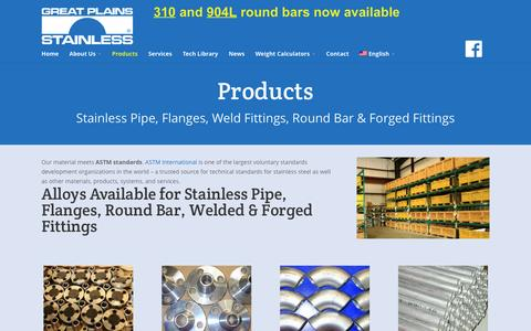 Screenshot of Products Page gpss.com - Stainless Steel Products & Alloys for Sale | Great Plains Stainless - captured Feb. 2, 2016