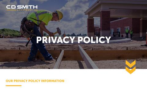 Screenshot of Privacy Page cdsmith.com - Privacy Policy - captured Sept. 25, 2018