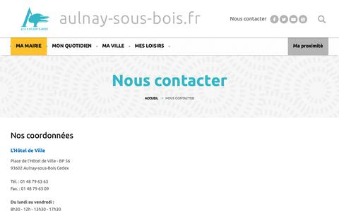 Screenshot of Contact Page aulnay-sous-bois.fr - Nous contacter - Aulnay-sous-bois.fr - captured Oct. 29, 2018
