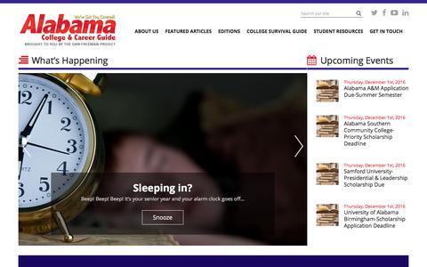 Screenshot of Home Page alccg.com - Alabama College and Career Guide - captured Nov. 20, 2016