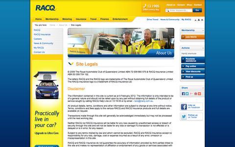 Screenshot of Terms Page racq.com.au - Site Legals               | About Us | RACQ - captured Sept. 19, 2014
