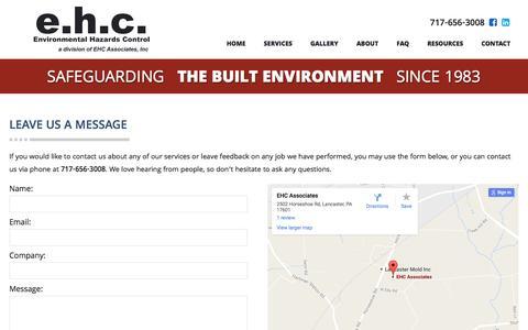 Screenshot of Contact Page ehcassociates.com - Contact Us | Lancaster, PA | EHC Associates - captured Oct. 9, 2016